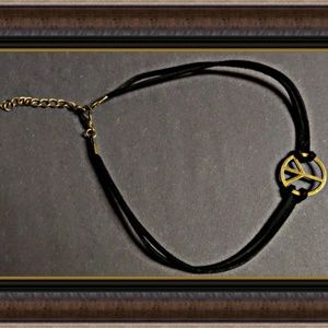 Black Leather Peace Sign Choker Necklace Gothic